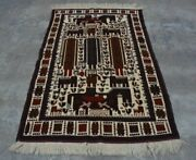 H280 Vintage Afghan Decor Wall Hanging Adam Pictorial Hunting Rug 3and03910 X 6and0393 Ft
