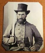 Civil War Confederate Soldier With Sword Knife Rp Tintype C1167rp