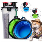Portable Pet Food Water Storage Container Cat Dog Supplies Bottle Foldable Bowl