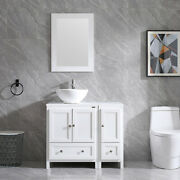 36 Bathroom Cabinet White Small Side Vanity Round Vessel Sink Faucet Mirror Set