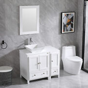 36 Bathroom Cabinet Vanity Vessel Sink And Faucet Mirror Set Combo Antique White