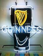 New Guinness Harp Cup Beer On Tap Bar Neon Light Sign 32x24 Artwork Glass