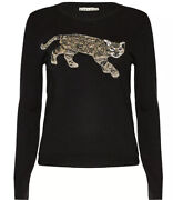 Alice + Olivia Bengal Cat Beaded Sweater Wool Black Knit Top Size S Nwot