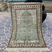 Yilong 2.75and039x4and039 Green Handmade Silk Carpet For Prayer Antique Area Rug Yxr325b