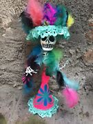 Set Of 3 Hand Painted Paper Mache Day Of The Dead Katrina Catrina Dolls