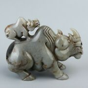 Chinese Exquisite Hand-carved Rhinoceros Carving Hetian Jade Pot