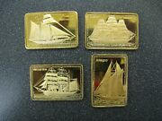 4 X Tall Ships Of The World 1/2 Oz .999 Fine Silver Bars W/ Gold Plate Lombardo