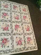 Vintage Antique Hand Hooked Rug Floral Wool Carpet Made In Early New England