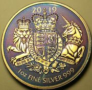 2019 Great Britain Silver 2 Pound Royal Arms Artificially Toned Art Coin 6 Dr