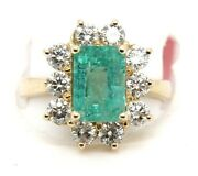 Colombian Emerald And Diamond Halo Square Solitaire Ring 14k Yellow Gold 3.18ct