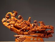 China Padauk Wood Hand Carved Fengshui Animal Success Eight Horse Statue