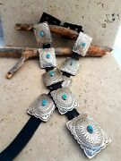 Vintage Native American Navajo .925 Hand Stamped Turquoise Concho Belt