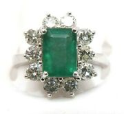 Colombian Emerald And Diamond Solitaire Square Ladyand039s Ring 14k White Gold 3.68ct
