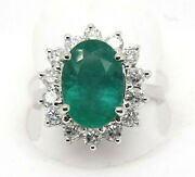 Oval Emerald And Diamond Halo Solitaire Ladyand039s Ring 14k White Gold 3.88ct