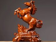 China Padauk Wood Hand Carved Fengshui Wealth Animal Auspicious Horse Statue