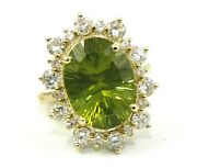 Oval Green Peridot And Diamond Halo Solitaire Ring 14k Yellow Gold 9.67ct