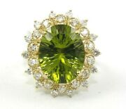Huge Oval Green Peridot Diamond Halo Solitaire Ring 14k Yellow Gold 8.35ct