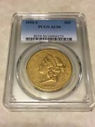 1856-s Au50 Pcgs Liberty Double Eagle Type 1 20 Gold Coin Eyeclean