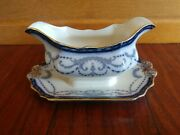 Rare Antique Flow Blue B And L Burgess And Leigh Belvoir Gravy Boat Burleigh Ware