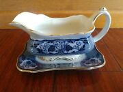 Rare Antique Flow Blue B And L Burgess And Leigh Paisley Gravy Boat Burleigh Ware