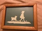 """Vintage Silhouette Cameo Picture Mary And Her Little Lamb Signed - 6"""" X 8"""""""