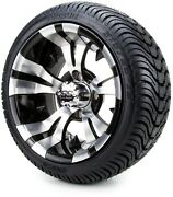 12 Vampire Machined And Black Golf Cart Wheels And Tires 215-35-12 Set Of 4