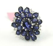 Oval Blue Ceylon Sapphire And Diamond Cluster Ladyand039s Ring 14k White Gold 6.79ct