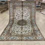 Yilong 5and039x8and039 White Classic Silk Area Rug Oriental Hand Knotted Porch Carpet 393c