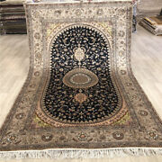 Yilong 5and039x8and039 Hand Woven Home Decor Silk Rug Medallion Hand Knotted Carpet 479c