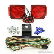 Led Submersible Square Light Kit Trailer 80- Boat Marine And 8 Red Side Marker