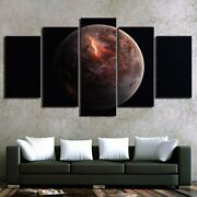 Space Universe Moon Planet 5 Piece Panel Canvas Wall Hanging Home Decor Art