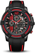 Men's Analogue Sport Quartz Wrist Watches With Soft Red Black Silicone