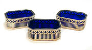 3 Howard And Co. Sterling Silver And Cobalt Blue Glass Insert Open Salt Cellars