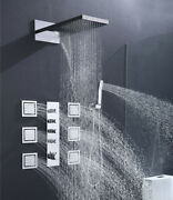 Multi-function Rainfall Waterfall Thermostatic Shower Faucet Complete Set Chrome