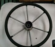 Large 15 Inch Stainless 6 Spoke Boat Marine Steering Wheel With No Center Cap