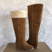 Ugg Classic Femme Over The Knee Chestnut Suede Fur Wedge Tall Boots Size 6 Women