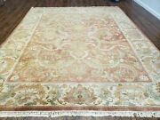 8and039 X 10and039 Hand Made India Floral Wool Rug Carpet Tea Washed Nice Muted Red Beige