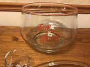 Rare Style Glass Tom And Jerry Punch Bowl Glass Ladle 12 Matching Glasses