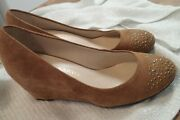 Classy Studded Franco Sarto Wedges Size 6-tan Suede Leather Silver Studded
