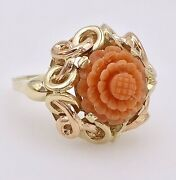 Antique Untreated Red/orange Coral Rose Carving And Solid 14k Ring, Sz 8