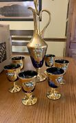 Murano Glass Decanter Set With Six Sherry Glasses 24k Gold Leaf Handmade- Blue
