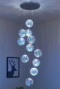 Led 3d Colorful Glass Duplex Chandelier Staircase Living Room Dining Room Light