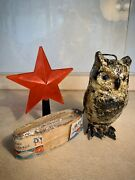 3 Items Antique Ussr Russian Vintage Christmas Toys Star Rain Owl Old Rare