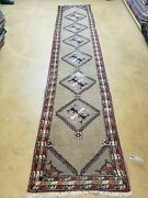 2and0394 X11and039 Antique Hand Made Turkish Wool Rug Runner Carpet Camel Hair Nice