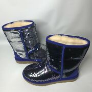 Ugg Classic Short Navy Blue Sparkles Sequin Sheepskin Boots Size Us 7 Womens
