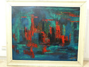 Abstract Picture Oil Painting 1950er-1960er Years Signed