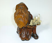 Dwarf Seltene Carved Wooden Figure About 1900 Glass Eyes Crystal