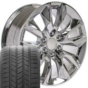 5916 Chrome 20x9 Wheels And Goodyear Tires Set Fits New Chevy And Gmc