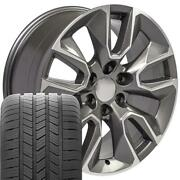5916 Gunmetal Machined 20x9 Wheels And Goodyear Tires Set Fit Gmc And Chevy