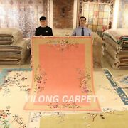 Yilong 5.5and039x8and039 Pink Hand Knotted Wool Rug Thick Woolen Hand Craft Area Carpet